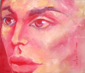 Lady Desire, Paintings, Abstract,Expressionism, Portrait, Canvas,Oil, By Valentina Butnarciuc
