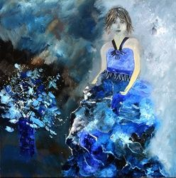 Lady in blue, Paintings, Expressionism, Decorative,Figurative, Canvas, By Pol Ledent