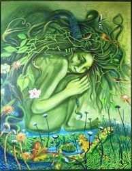 Lady Spring, Paintings, Fine Art, Fantasy, Acrylic, By Derek Bigard