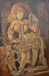 Lady With Mirror, Paintings, Expressionism, Figurative, Canvas, By Ajay Harit