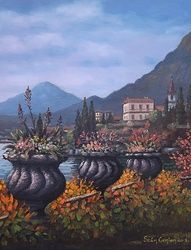 lake Front Garden,Italy, Paintings, Impressionism, Landscape, Oil, By Sean Conlon