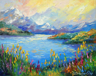 Lake in the Alps, Paintings, Expressionism,Impressionism, Botanical,Landscape,Nature, Canvas,Oil,Painting, By Olha   Darchuk