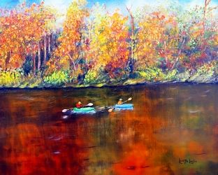 Lake Nockamixon Autumn, Paintings, Fine Art,Impressionism,Realism, Landscape,Wildlife, Canvas,Oil,Painting, By Loretta Luglio