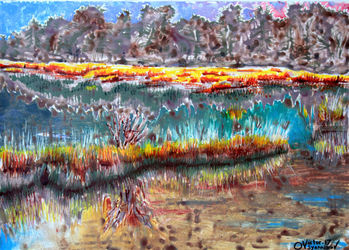 Lakes and swamps. 4, Paintings, Expressionism, Landscape, Acrylic, By Victor Ovsyannikov