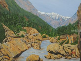 Landscape Gangotri III, Paintings, Realism, Landscape, Canvas, By Ajay Harit