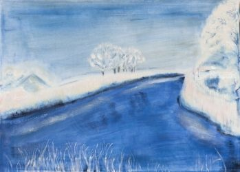 Landscape in winter, Paintings, Fine Art, Landscape, Oil,Painting, By Claudia Luethi alias Abdelghafar