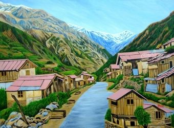 Landscape Sikkim I, Paintings, Expressionism, Landscape, Canvas, By Ajay Harit
