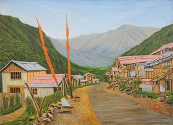 Landscape Sikkim II, Paintings, Realism, Landscape,Nature, Canvas, By Ajay Harit