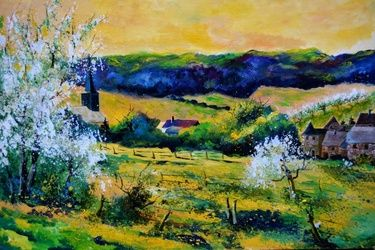 Landscape spring in Matagne, Architecture,Decorative Arts,Drawings / Sketch,Paintings, Impressionism, Botanical, Canvas, By Pol Ledent