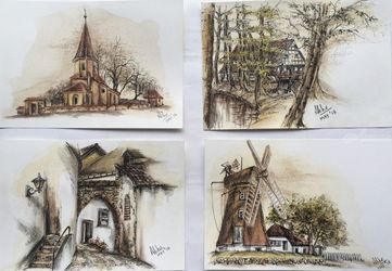 Landscapes- set of four, Paintings, Fine Art,Photorealism,Realism, Architecture,Composition,Landscape, Mixed,Pastel,Pencil,Watercolor, By Abha Neotia