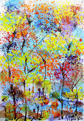 Landscaping-CXCVII, Paintings, Abstract,Expressionism,Impressionism, Landscape, Watercolor, By Stanislav Bojankov