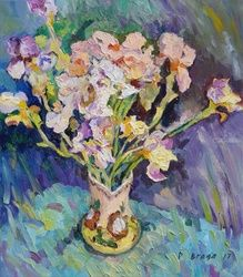 LAST IRISES, Paintings, Expressionism,Impressionism, Floral,Still Life, Canvas,Oil,Painting, By Dima Braga