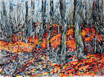 Late autumn in New Jersey. 1, Paintings, Expressionism, Landscape, Acrylic, By Victor Ovsyannikov