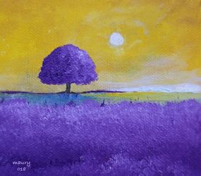 Lavender Tree, Paintings, Impressionism, Landscape, Canvas, By Alicia Maury