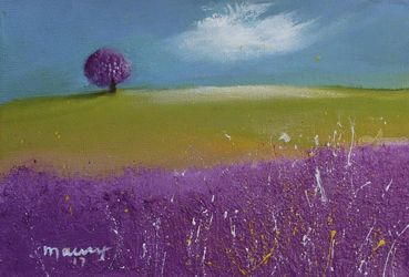 Lavender Tree On The Shore, Paintings, Impressionism, Landscape, Oil, By Alicia Maury