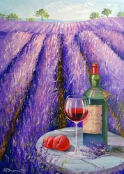 Lavender, wine and fruit, Paintings, Fine Art,Impressionism, Floral,Inspirational, Canvas,Oil,Painting, By Olha   Darchuk