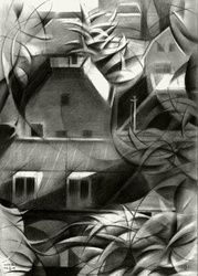 Leiden - 11-11-15, Drawings / Sketch, Abstract,Cubism,Fine Art,Impressionism,Realism,Surrealism, Architecture,Cityscape,Composition,Figurative,Inspirational,Landscape, Pencil, By Corne Akkers