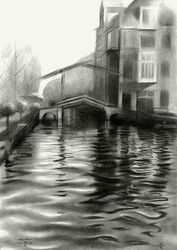 Leiden - 16-11-15 (sold), Drawings / Sketch, Abstract,Cubism,Fine Art,Impressionism,Realism,Surrealism, Architecture,Cityscape,Composition,Figurative,Inspirational,Landscape, Pencil, By Corne Akkers