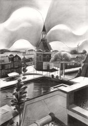 Leidschendam – 01-09-18<br>(sold), Drawings / Sketch, Abstract,Cubism,Fine Art,Futurism,Impressionism,Realism,Surrealism, Cityscape,Figurative,Inspirational, Pencil, By Corne Akkers