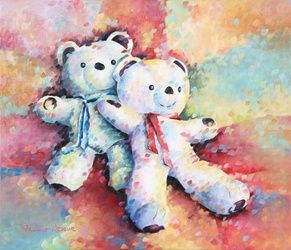 Les Ninis, Paintings, Abstract,Expressionism,Fauvism,Impressionism, Animals,Children, Canvas, By Beatrice BEDEUR