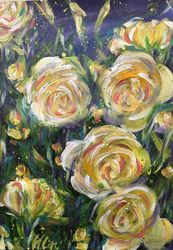 LET LIFE BE LOVABLE LIKE<br>SUMMER ROSES, Paintings, Abstract,Fine Art,Impressionism,Modernism, Botanical,Floral,Nature,Still Life, Acrylic, By HSIN LIN