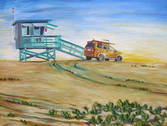 Lifeguard Station, Paintings, Expressionism, Landscape, Acrylic, By Jane Adrianson