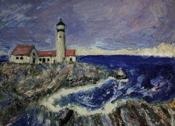 Lighthouse, Paintings, Impressionism, Seascape, Painting, By Jim Relyea