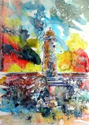 Lighthouse after storm, Paintings, Impressionism, Seascape, Watercolor, By Kovacs Anna Brigitta