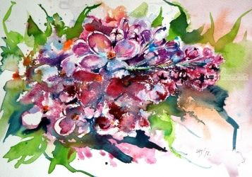 Lilac, Paintings, Impressionism, Floral, Watercolor, By Kovacs Anna Brigitta