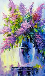 Lilac bouquet, Paintings, Impressionism, Botanical,Floral, Canvas,Oil,Painting, By Olha   Darchuk