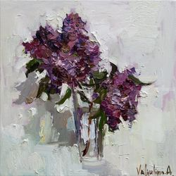 Lilacs in vase - Original oil<br>painting, Paintings, Impressionism, Botanical,Still Life, Oil,Painting, By Anastasiya Valiulina
