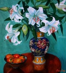 Lilies and Tamarillos, Paintings, Realism, Still Life, Acrylic, By Annie Day