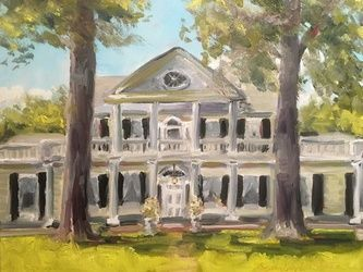 Linden Plantation, Natchez, Paintings, Impressionism, Architecture, Acrylic, By Susan Elizabeth Jones