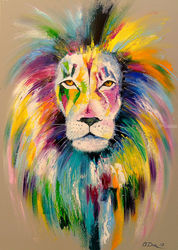 Lion, Paintings, Expressionism,Impressionism,Pop Art, Animals,Nature, Canvas,Oil,Painting, By Olha   Darchuk