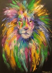 Lion, Paintings, Pop Art, Animals, Canvas,Oil,Painting, By Olha   Darchuk