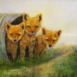 Little Foxes, Paintings, Fine Art,Impressionism, Animals, Oil, By Loretta Luglio