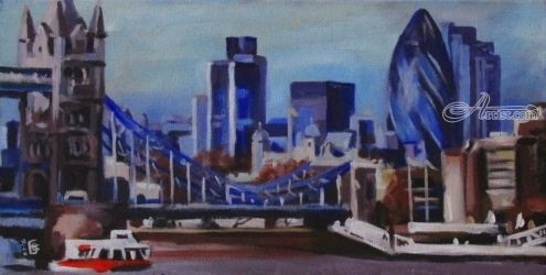 London, Paintings, Fine Art,Pop Art,Realism, Architecture,Cityscape,Landscape,Window on the World, Acrylic,Canvas, By Kateryna Bortsova