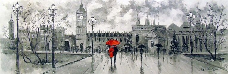 London, Paintings, Impressionism, Architecture,Daily Life, Canvas,Oil,Painting, By Olha   Darchuk