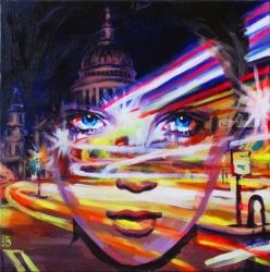 London time, Paintings, Fine Art,Surrealism, Architecture,Cityscape,Fantasy,Mythical,Portrait, Acrylic,Canvas, By Kateryna Bortsova