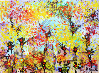 Lonely trees-XVIII, Paintings, Abstract,Expressionism,Impressionism, Landscape, Acrylic, By Stanislav Bojankov