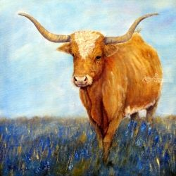 Longhorn, Paintings, Fine Art,Realism, Animals,Landscape, Mixed, By Loretta Luglio