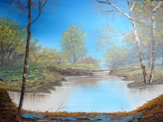 Looking Through the Woods, Paintings, Fine Art, Nature, Canvas, By Lana Fultz