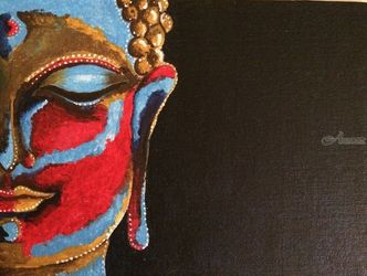 Lord budhha, Paintings, Abstract,Fine Art, Landscape, Acrylic,Canvas, By Malika Patel