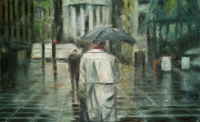 Lost, Paintings, Fine Art,Impressionism, Cityscape,Figurative, Oil,Wood, By Angela Suto