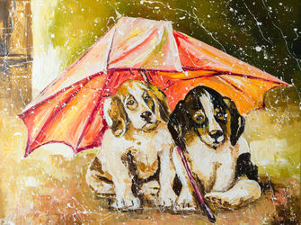 LOST IN THE RAIN, Paintings, Impressionism, Animals, Canvas,Oil, By Liubov Kuptsova