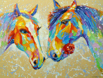 Love horse, Paintings, Fine Art,Impressionism, Animals,Fantasy,Floral, Canvas,Oil,Painting, By Olha   Darchuk