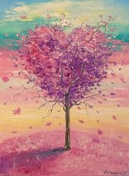 Love tree, Paintings, Fine Art,Impressionism, Botanical,Floral,Landscape,Nature, Canvas,Oil,Painting, By Olha   Darchuk