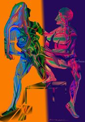 lovers talk, Digital Art / Computer Art, Expressionism,Modernism, Anatomy,Erotic,Figurative, Digital, By Nebojsa Strbac