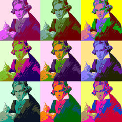Ludwig Van Beethoven Pop Art, Digital Art / Computer Art, Commercial Design,Modernism,Pop Art, Figurative,Music,People,Portrait, Digital, By Matthew Lacey