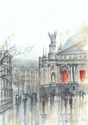 Lviv Opera, Paintings, Fine Art, Architecture,Cityscape, Watercolor, By Eugene Gorbachenko